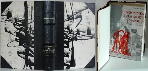 La Mort en Anjou Demi reliure, chagrin noir, dos-coins Dorure, feuille d'or 22 carats Papier gravé Claude Delpierre