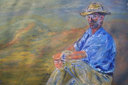 L'arch�ologue, Egypte, aquarelle