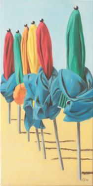 Huile sur toile 60x30 cm: Parasols