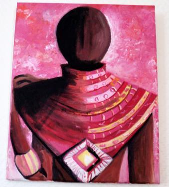 Myst�re: petit tableau sur ch�ssis toil� peinture acrylique.