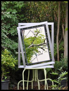 Cadre double avec miroir 40 x 60 cm. Acier vernis