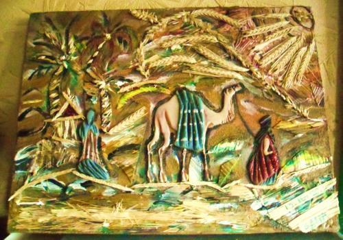 Chameau et chamelier dans le soleil d'un désert de paille Paysage d'un désert de paille avec chameau et chamelier dans un soleil de blé  Matériaux utilisés: Acrylique, Bois   Collage de sable coloré représentant un dessert avec chameau et chamelier.  Marqueterie de paille et épis de blé pour le soleil et le décors de palmier.  Peinture acrylique et paillettes.  Vernis de protection.    Dimensions (cm): 40 x 30