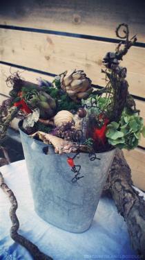 Création dans pot en zinc (60 cm de hauteur)
