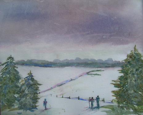 L'hiver, aquarelle sur papier