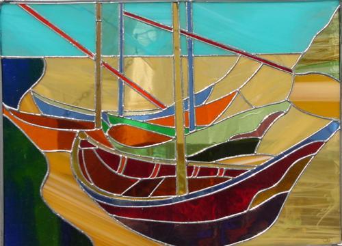 Les bateaux de Vincent Création Tiffany reprenant le célèbre tableau de Van Gogh pour des particuliers