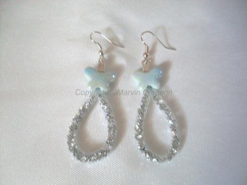 B.O résille tubulaire blanc, papillon céramique gris , cristal