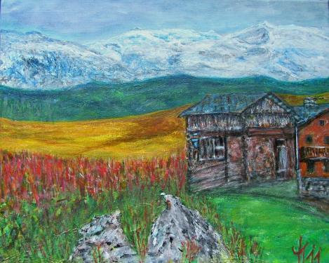 Les Alpes fses, acrylique sur toile