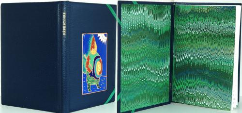 REPERTOIRE Reliure vachette bleu, 22x15 cm Email champlevé ROI UBU Dorure : feuille d'or 22 carats Papier marbré