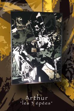 vitrail tableau (suspendu) 50 cm x 70 cm technique traditionnelle et peinture grisaille à main levée verre float et couleur gris, sablage Encadrement fer