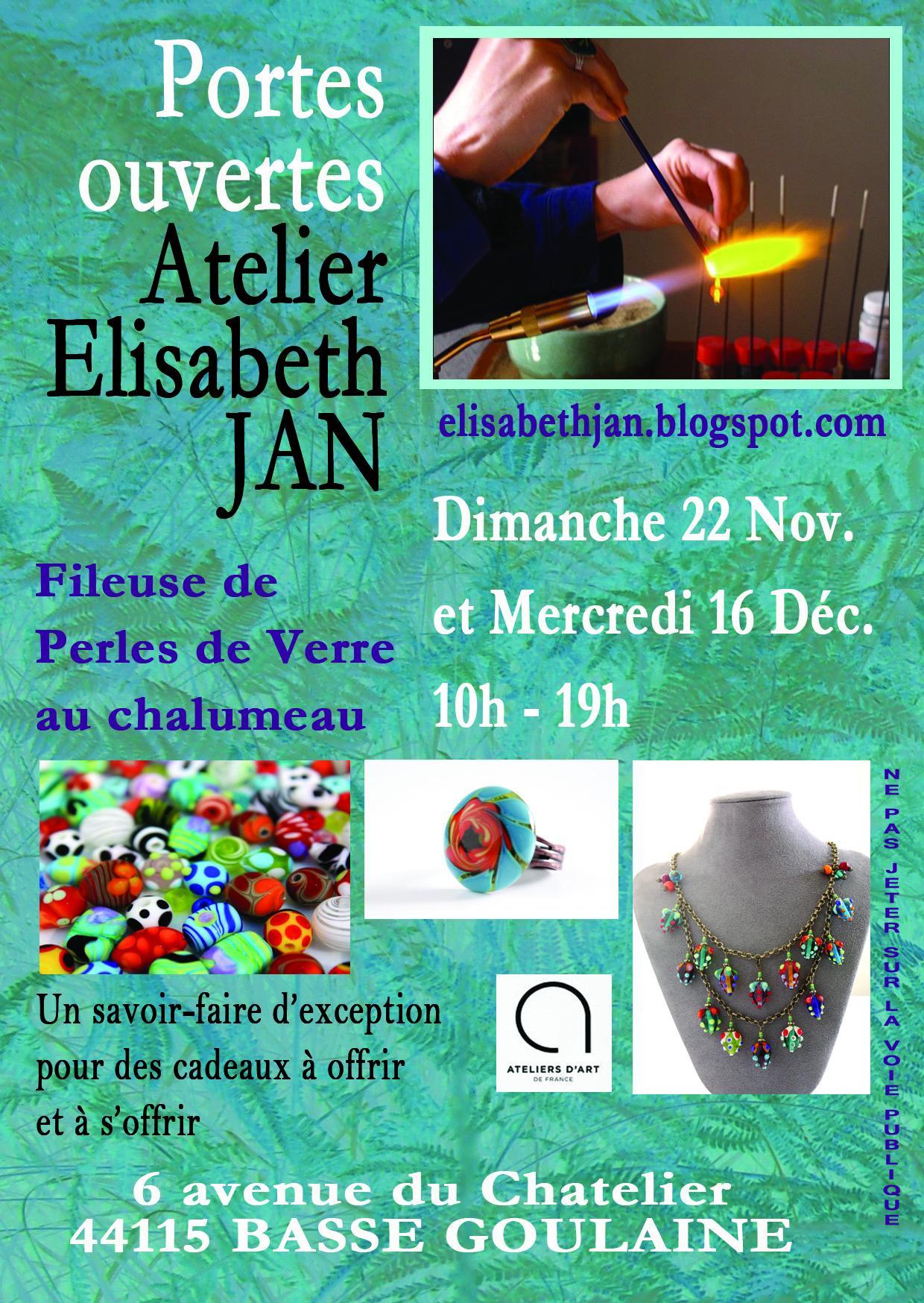 Actualité de Elisabeth JAN Portes ouvertes de mon Atelier