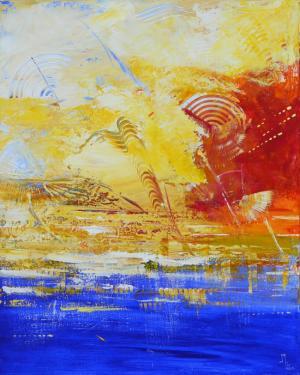 OCEAN DE LUMIERE   Acrylique au couteau sur châssis. 100x80.Vernis bord peint.
