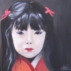 Huile sur toile 30x30 cm: Chinoise.