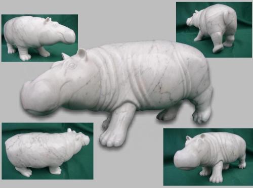 Hippopotame tentative en marbre de carrare