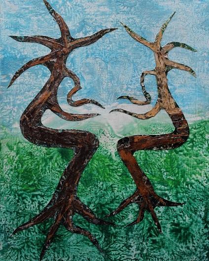 Actualité de NICOLE BOURGAIT THIERRY LE SET DES FLEURS 29. LE BERCEAU DE LA NATURE - Création sur Bois à la cire - Ecorces -