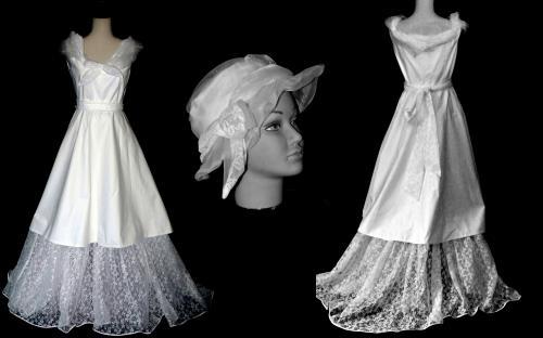 Robe en coton portée sur un jupon en dentelle.Taille 40