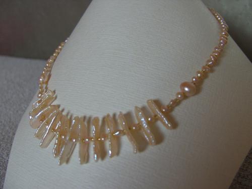 BIJOUX BIO N° 20   Collier Perles de Cultures barroques    Zoom : 1 Clic sur le Bijou  Bracelet & Boucles d'oreilles assorties