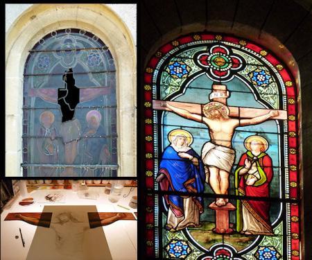 Re-création d'un panneau de vitrail de l'église de Tonneins 47. Dessin, tracé, coupe des verres, grisailles, cuisson, montage et repose à 12m. de haut