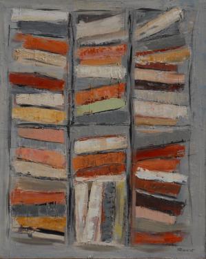 bibliothèque 3 huile sur toile 81 x 65 cm