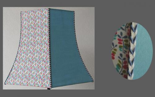 Pagode hexagonale 6 pans en contrecollé tissu fleuri sur 3 faces et uni bleu sur les 3 autres. Cette pagode peut être confectionnée également en tissu tendu. En finitions, un galon tressé, posé sur chaque arête de l?Abat-jour vient donner une unité à l?ensemble.