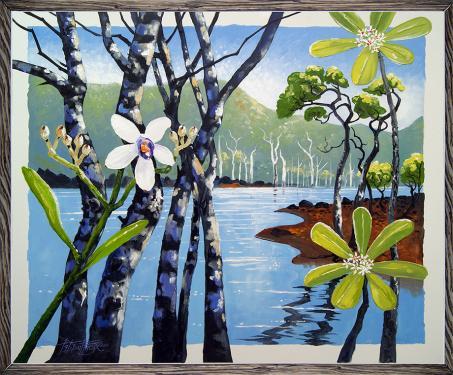 N°22 Orchidée sur lac Acrylique et huile sur toile 60X73
