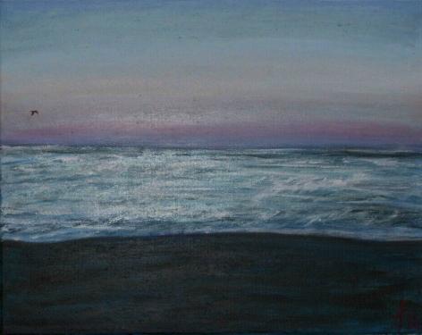 La plage à Menton en soirée, acrylique sur toile