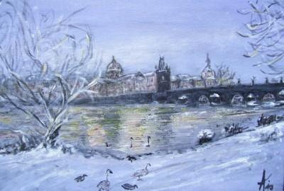 Le pont Charles, Prague, acrylique sur toile
