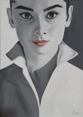 AUDREY H Huile sur toile 70x50 cm
