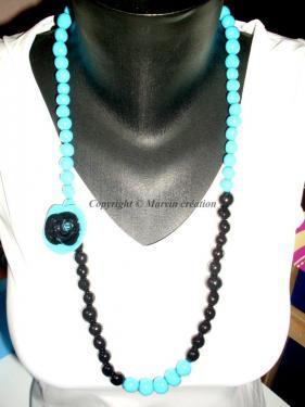 Collier sautoir fil cablé, perles fimo noir et turquoise, rose fimo avec strass (faites main) Réf: S1