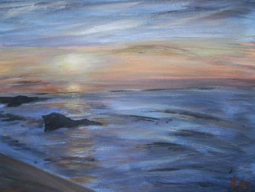 Le coucher de soleil, Biarritz, acrylique sur papier