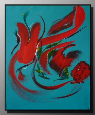 SECRETS DE L'ILE AUX OISEAUX Taille : 46X55 Peinture abstraite   Acrylique au couteau/pinceau Toile sur ch�ssis bois Cotation Drouot R�f�renc�e AKOUN Site officiel : http://www.mapeinturesurtoile.com Prix : me contacter