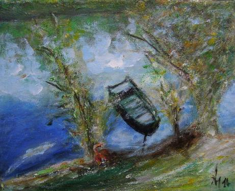 Du côté de la Marne, II., acylique sur toile