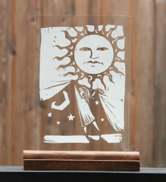 Gravure sur verre d'une scene  d'un enfant cherchant la nuit
