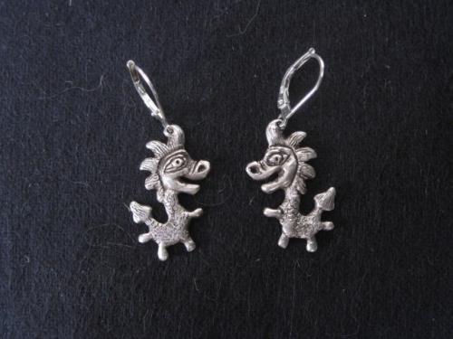 boucles d'oreilles dragons en argent massif