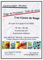 Actualité de Carol Lamglait  - Atelier TESSELLES ET MOSAIQUES Stage Mosaïque - Taille Verre Vitrail