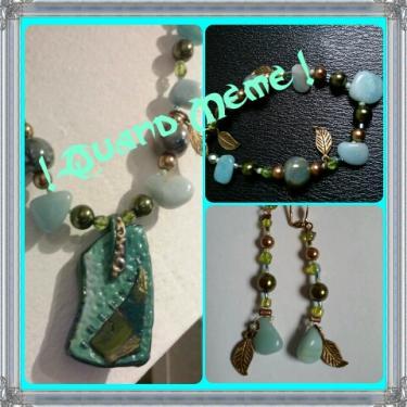 Parure turquoise en polymère, amazonite, cristal, perles céramique