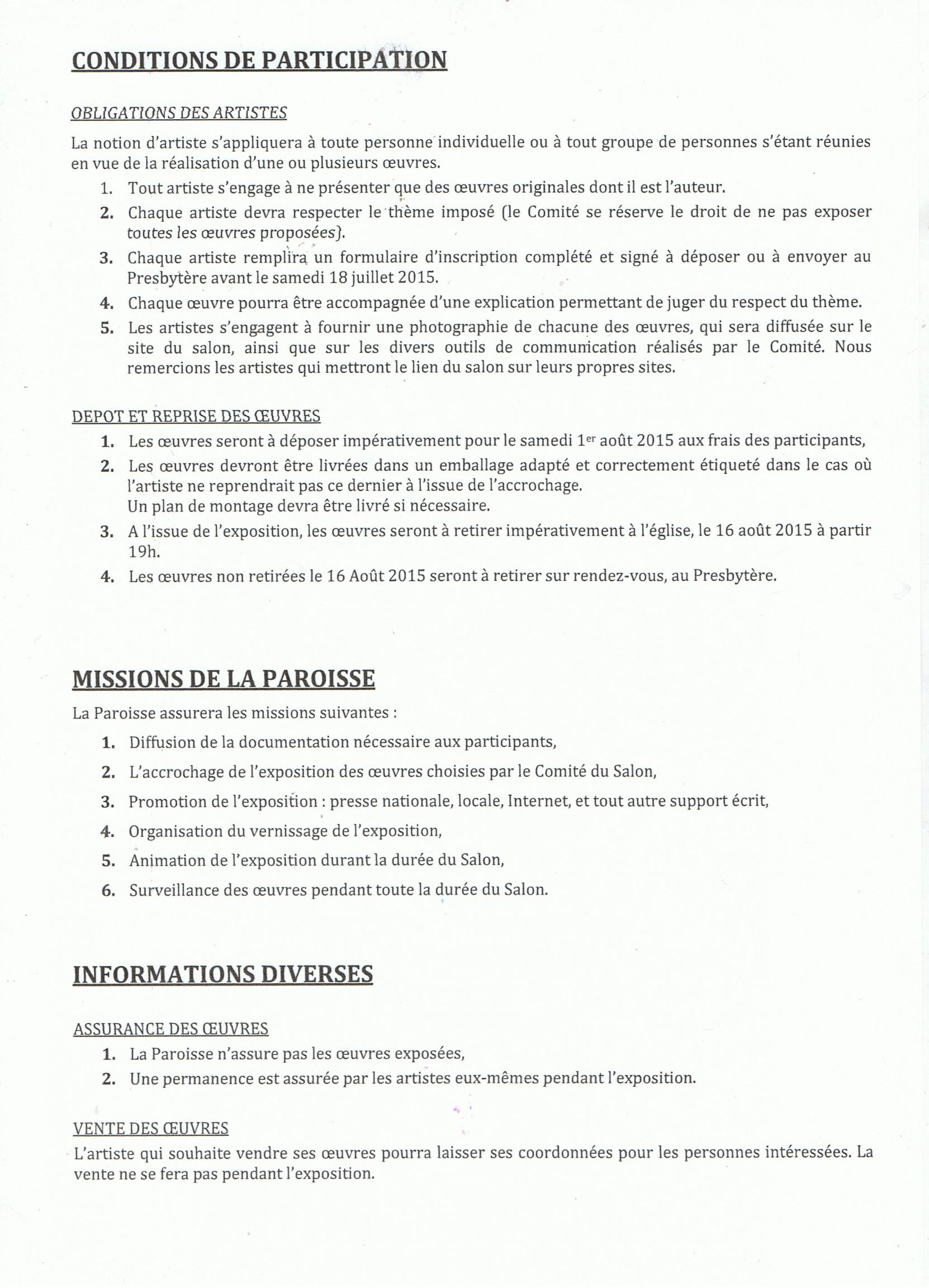 Actualité de  PRESBYTERE DE MONTOIRE SUR LOIR 10 ème - SALON D'ART CHRETIEN CHARTE DU SALON ART CHRETIEN