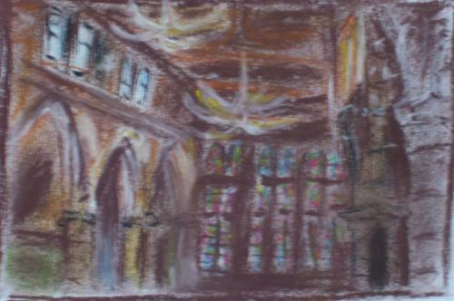 L'intérieur de l'église St. Léonard, Honfleur, pastels, fusain