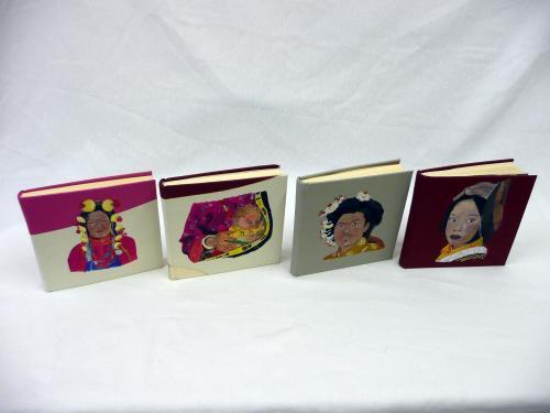 carnets de voyage en cuir 16cmX16cm peinture acrylique - visages tibétains