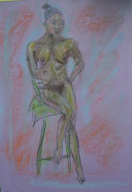 Marcelle, pastels, fusain