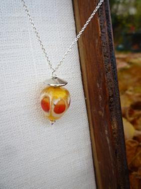 Collier perle d'art en verre filé à la main