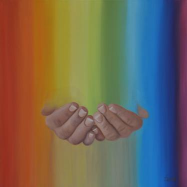 Huile sur toile 50x50 cm: Poignée de couleurs