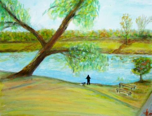 Du côté de la Marne, aquarelle