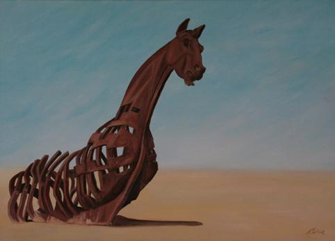 Huile sur toile 50x70 cm: Dernière chevauchée