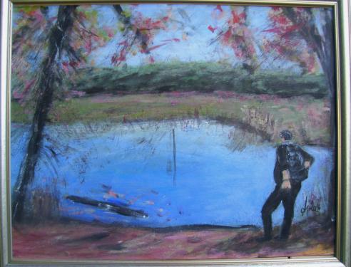 La pause, au lac, Idf, acrylique sur carton