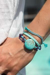 Bracelet Manchette à fermoir aimanté, Turquoise, Cristal, cuir & rubans