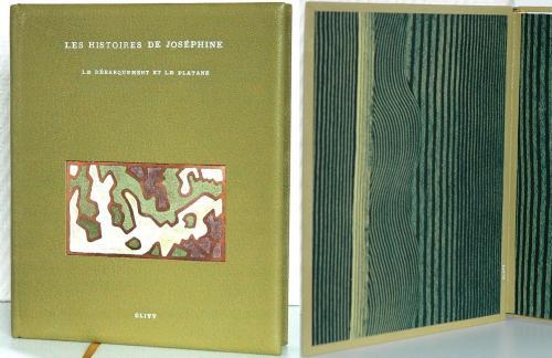 Les Histoires de Joséphine ou le Débarquement et le platane Reliure chèvre Breteuil vert platane Titre oeser blanc Papier de garde Brigitte Chardome