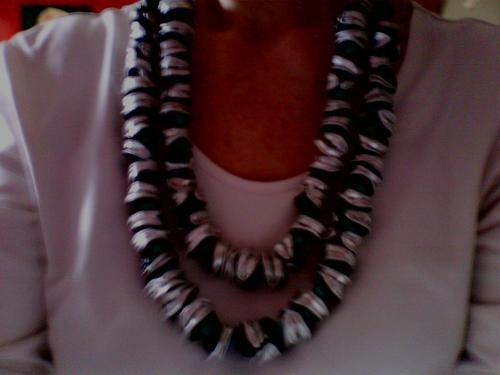 Double collier perles nespresso dorées