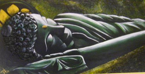 Bouddha Allong�e - Acrylique 30 X 60 - 180 euros