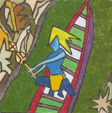 Acrylique sur ch�ssis toil� et ensabl� ( du sable est pr�alablement coll� sur la toile). un tableau qui respire l'amazonie profonde dans sa qui�tude. dimension : 50cm x 50cm