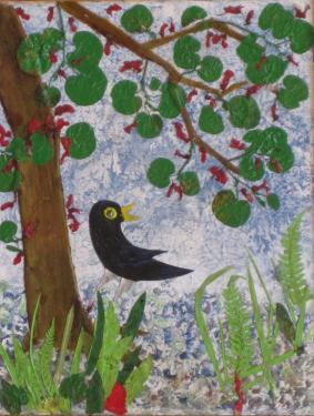 CHANTEMERLE sous le bel arbre fleuri - Ecorce d'aulne et feuillage d'arbre de Judée - 35 cm/42 cm.  Merle, Merle, joyeux Merle,   Ton bec jaune est une fleur,   Ton oeil noir est une perle,   Merle, Merle, oiseau siffleur.   J.Richepin